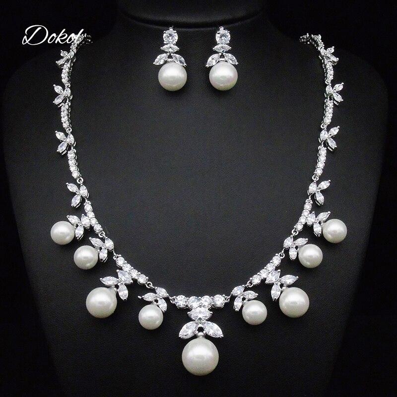 DOKOL nouvelle mode Marquise coupe Zircon perle boucles d'oreilles collier ensembles argent couleur bijoux cristal ensemble pour fête DKS0028