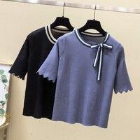 1b 2019 лето для женщин новый темперамент дикий лук свитер был тонкий рубашка MBH850 Вишня