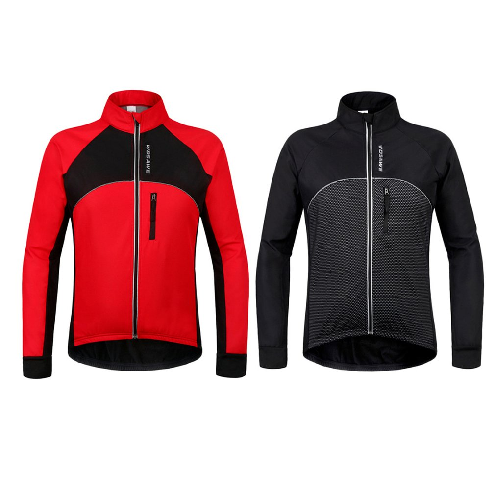 WOSAWE Autumn and Winter Bicycle Clothing Windproof Warm Thermal Long Sleeve Jacket Outdoor Sports Riding Cycling Jacket Coat Ho