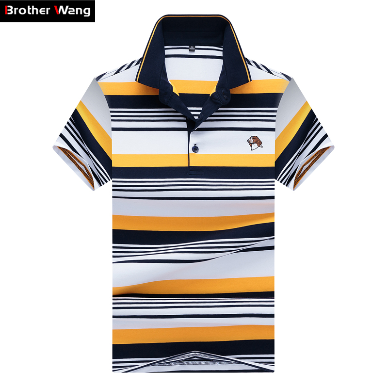 Brother Wang Men's Brand Striped   POLO   Shirt 2019 New Summer Business Casual Embroidery Short-sleeved   Polo   Blouse Tops Male