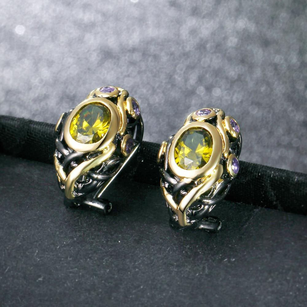 DreamCarnival 1989 CZ Oorknopjes voor vrouwen Olivijn Paars goud - Mode-sieraden - Foto 2