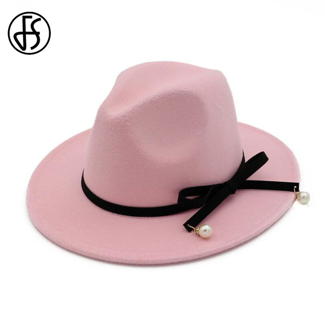 a6f5f319dce FS Elegant Wide Brim Winter Hats For Women British Style Black Bowknot Felt  Trilby Hat Jazz Vintage Wool Fedoras Chapeu Feminino