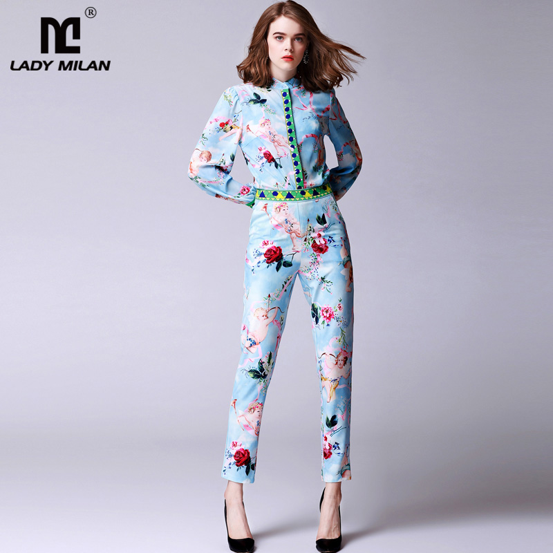 New Arrival Womens O Neck Sash Bow Detailing Long Sleeves Printed Shirts with Side Pockets Ankle Length Pants Fashion Twinsets