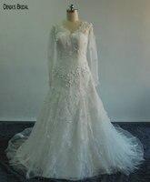 Exquisite Glamorous V-ausschnitt Spitze Langarm Mermaid Brautkleider