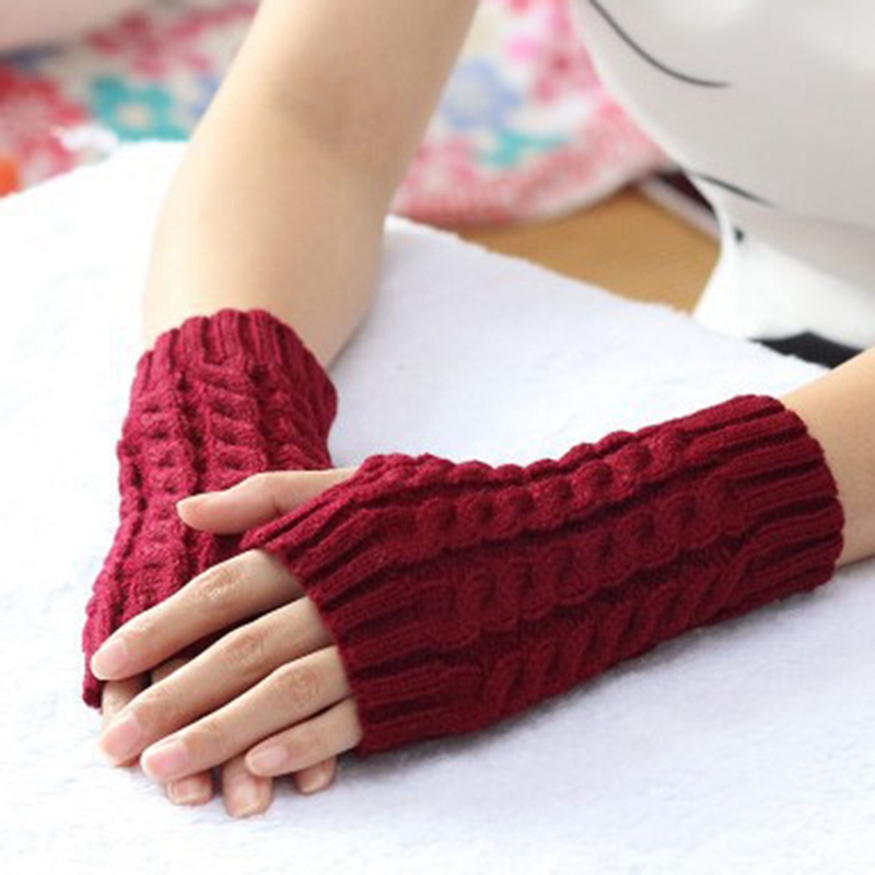 Fashion Women Gloves Stylish Knitted Arm Fingerless Glove Hand Warmer Winter Gloves -3539