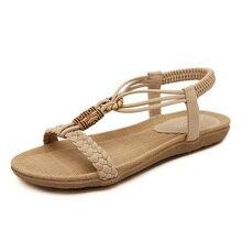 Plus Size 35-42 Women Sandals Fashion Bohemia Flat Sandals Casual Summer Shoes Womn Sandals Flip Flop Beading Sandale Femme