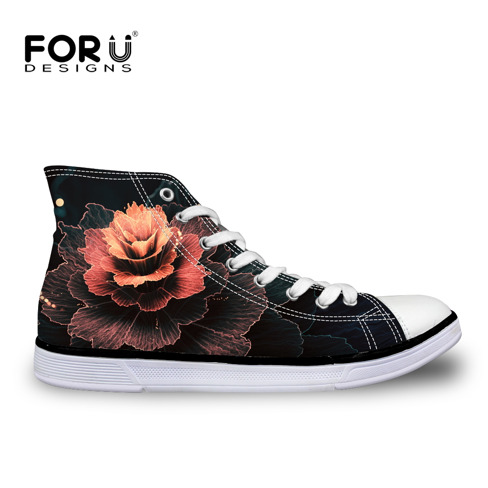 FORUDESIGNS Black Women Canvas Casual Shoes Classic High Top Vulcanized Shoes for Ladies 3D Art Flowers Prints Female Flats Shoe e lov women casual walking shoes graffiti aries horoscope canvas shoe low top flat oxford shoes for couples lovers
