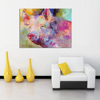 Pure Hand paitned Lovely Pink Pig Oil Paintings abstract acrylic paint Animal Canvas decor painting coloring Pictures for Home