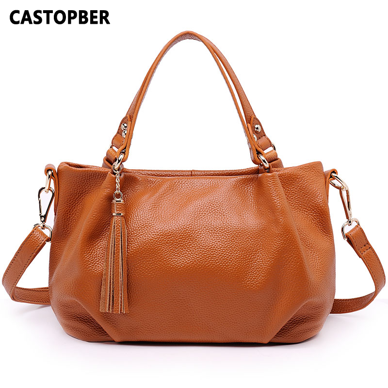 Designer Fashion 100% First Layer of Cowhide Tassel Bag Genuine Leather Women Shoulder Bags Messenger Tote Ladies Handbag Female