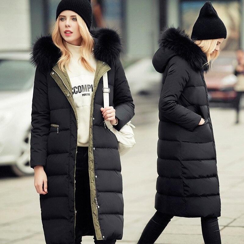 цены на 2017 New Real Fur Collar Women Winter Coat Thick Long Duck Down Jackets Army Green Hooded Zipper WindBreak Warm overcoat QX359 в интернет-магазинах