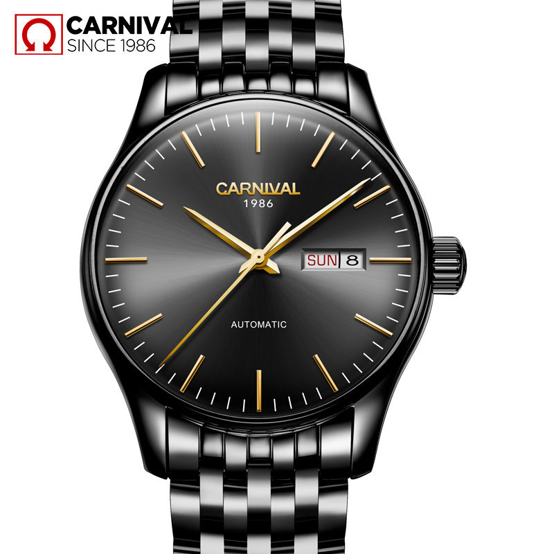 Luxury Carnival watch men stainless steel waterproof Automatic machine date week black wristwatch relogio feminine ultra luxury 2 3 5 modes german motor watch winder white color wooden black pu leater inside automatic watch winder