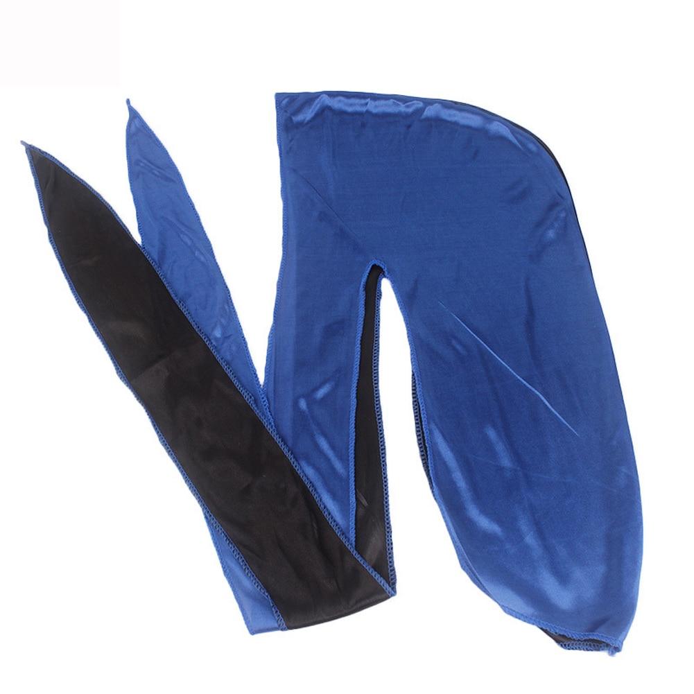 2019 New Hot Patchwork Silk Long Tail Scarf Cap Men 39 s Satin Durags Bandanna Turban Wigs Men Silky Durag Headwear Pirate Hat in Men 39 s Skullies amp Beanies from Apparel Accessories