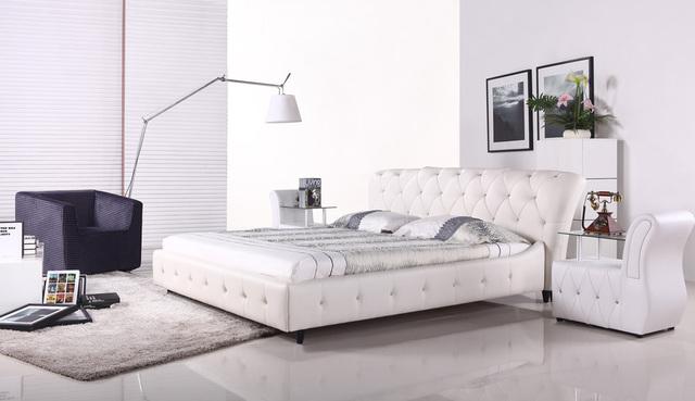Botón de diamante copetudo contemporáneo moderno de cuero suave cama muebles de dormitorio de matrimonio Hecho en China