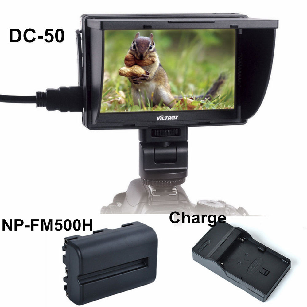 Viltrox 5'' DC-50 Clip-on Color TFT LCD Monitor HDMI AV for Canon Sony with NP-FM500H and Battery Charger