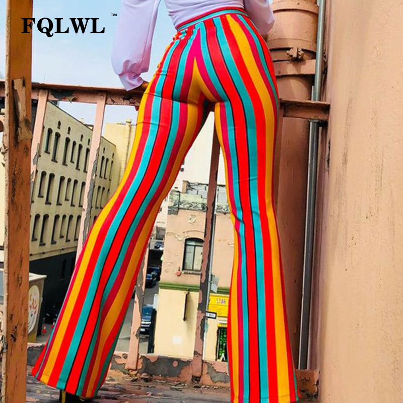 FQLWL Rainbow   Wide     Leg   Women   Pants   Stripes High Waist Flare   Pants   Female Casual Winter Skinny Sexy Palazzo   Pants   Ladies Trousers