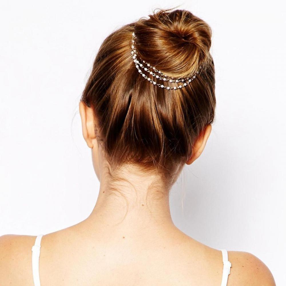1 Pc Mode Frauen Dame Mädchen Multilayer Quasten Perle Kette Haarband Haarnadeln Barrettes Dish Haar Clips Band Zubehör