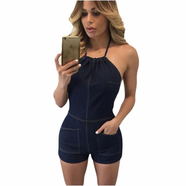 Calça jeans Macacões Para As Mulheres Verão 2017 Denim Azul Marinho Halter Romper Calções Macacão Combinaison Casuais Curto Femme