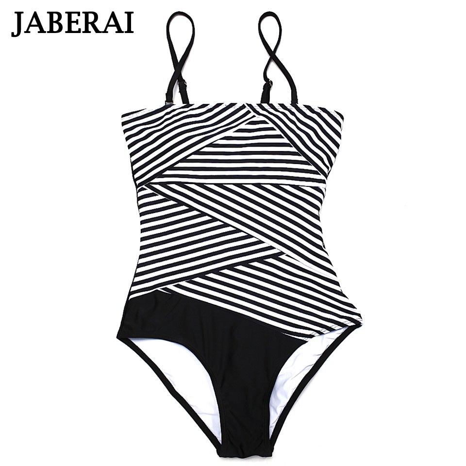 JABERAI One Piece Swimwear Women Plus Size Bathing Suit 2017 Bikini Brand Stripe Print Swimsuit Sexy Push Up Monokini Lady 42 women one piece triangle swimsuit cover up sexy v neck strappy swimwear dot dress pleated skirt large size bathing suit 2017