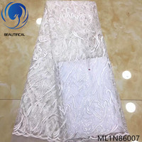 Beautifical african lace fabrics 2019 New white bridal french lace sequins fabric 5yards embroidery net lace fabric ML1N860