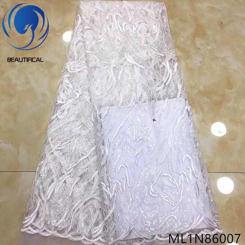 Beaux tissus de dentelle africaine 2019 nouveau tissu de paillettes de dentelle française de mariée blanche 5yards tissu de dentelle de filet de broderie ML1N860