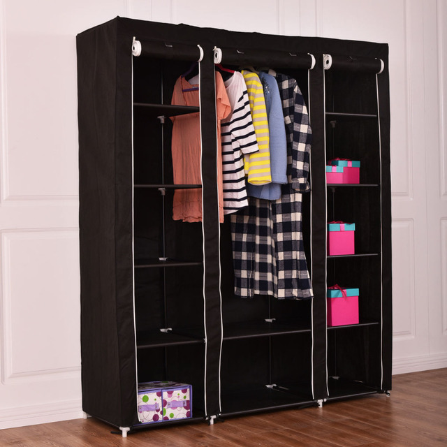 70 portable closet storage organizer clothes wardrobe shoe rack w shelves black hw54396bk