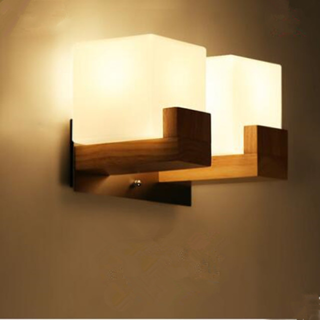 Modern Wall Lamps Wood Lights White Glass Lamp Shade Dining Room Sitting Corridor LED