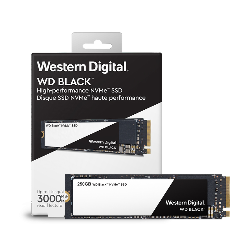 DEO SSD Noir PCIe Gen3 * 4 250 GB M.2 2280 SSD WDS250G2X0C Solide State Drive Disque 3000 MO/S pour PC Ordinateur Portable notebook