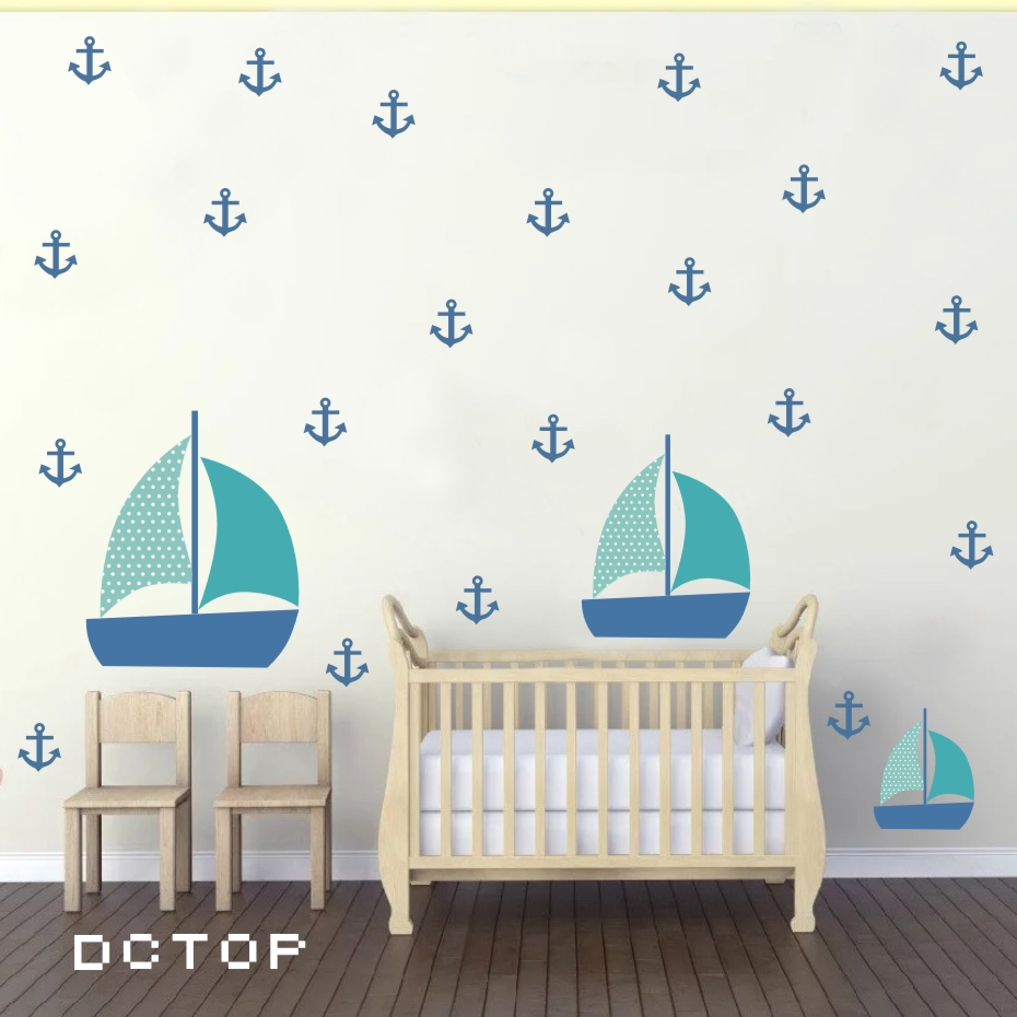 Color For Kids Room: Nordic Style Cartoon 3 Boats And Many Anchors Wall Sticker