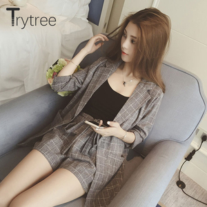 Image 4 - Trytree Spring summer Women two piece set Casual tops + shorts plus size plaid Top Female Office Suit Set Womens 2 Piece Set