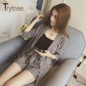 Image 4 - Trytree春夏の女性のツーピースセットカジュアルトップス + ショーツプラスサイズのチェック柄トップ女性オフィススーツセット女性の 2 個セット