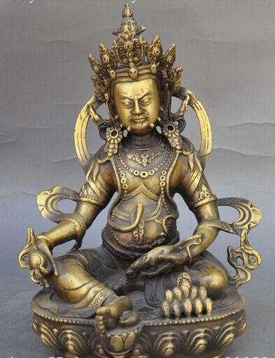"""007385 9"""" Tibetan Buddhism bronze Yellow Jambhala Buddha wealth God Tantra Statue"""