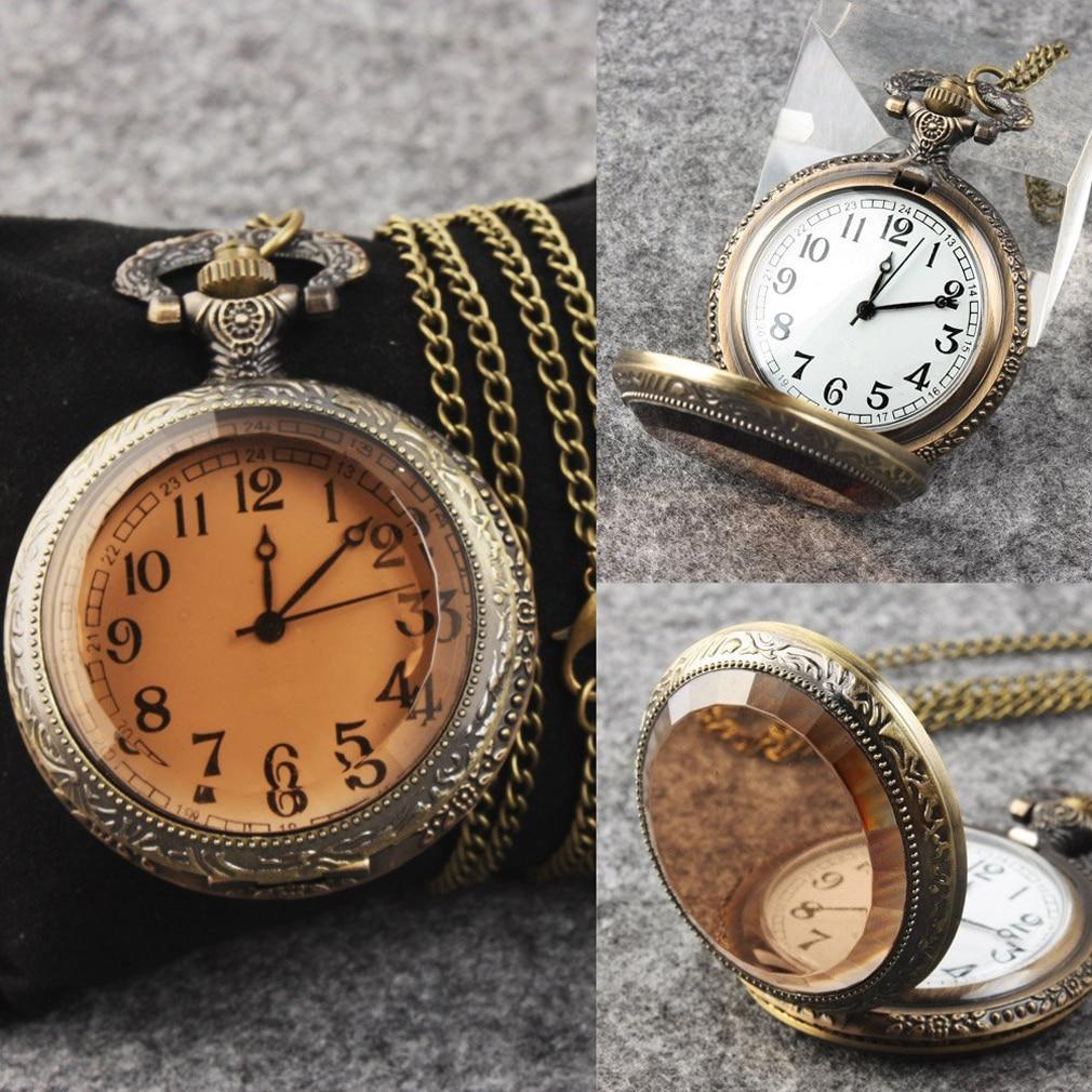 4.7CM Bronze Tone Quartz Pocket Chain Watch Necklace