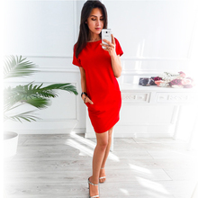 O-neck Short Sleeve Solid Party Dress