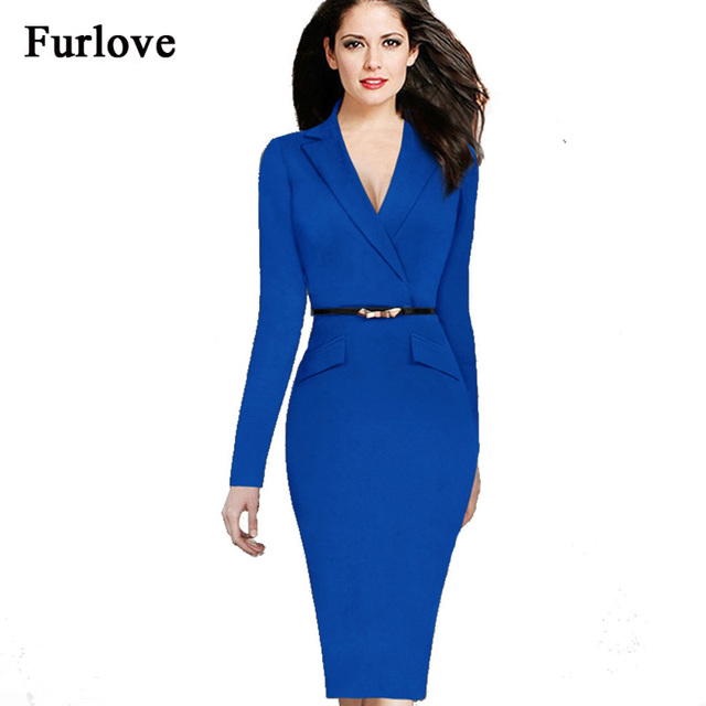 2017 Elegant Women Work Black Dress Suit Long Sleeve Blue Ladies