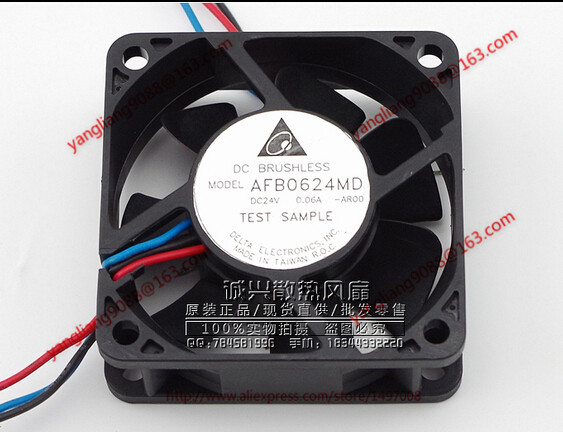 Free Shipping For DELTA AFB0624MD, -AR00 DC 24V 0.06A, 60x60x20mm 3-wire Server Square Cooling Fan free shipping for delta afc0612db 9j10r dc 12v 0 45a 60x60x15mm 60mm 3 wire 3 pin connector server square fan