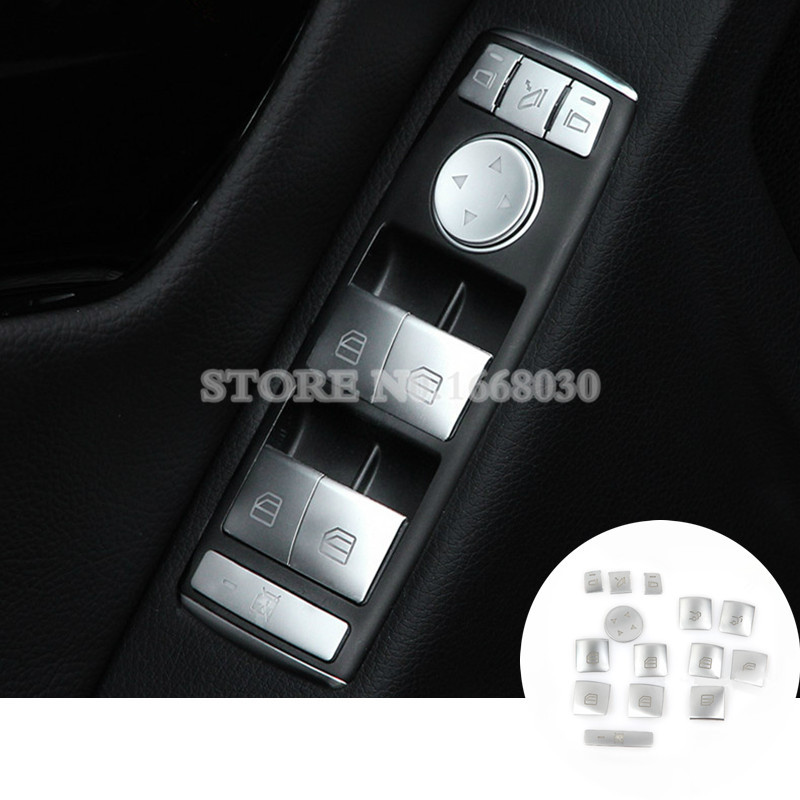 Inner Door Window Switch Button Trim Cover 14pcs For Benz C Class W204 GLK X204 2008-2013 for benz cla c117 w117 inner door window switch button cover 2014 2017 14pcs