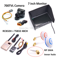 5.8G 600mW 48CH Wireless AV Transmitter and Receiver TS832 RC832 RC 832 700TVL camera COMS 7inch LCD TFT FPV 1024 x 600 Monitor
