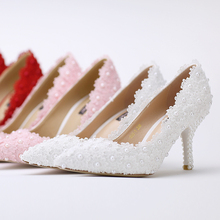 New arrival flowers pearl bridal shoes high heel pointed toe fashion women's shoes PUMPS evening party pumps