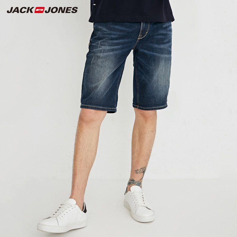JackJones Men's Whikering Distressing Slim Fit Straight Denim   Shorts   J|218243513