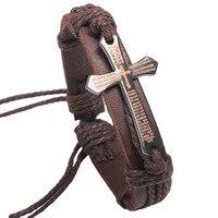 12 adet/grup Unisex Erkek İncil Ile Çapraz Hakiki Deri Charm Bilezik Vintage Ayarlanabilir Paslanmaz Çelik İncil toptan