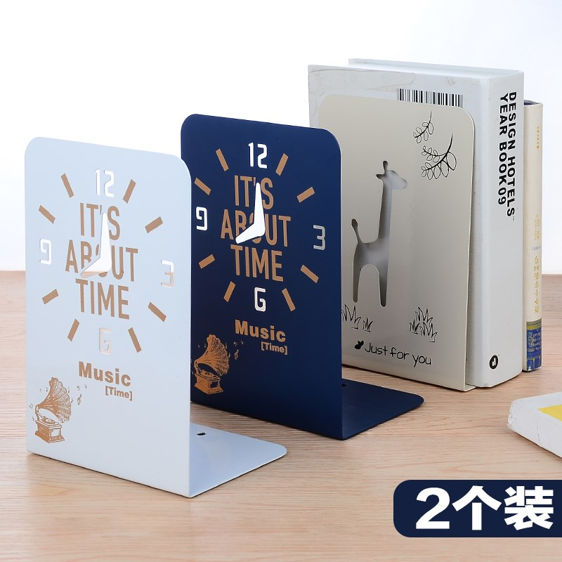 New 2 Pcs/Set Cute Giraffe And Clock Series Bookshelf Large Metal Bookend Book Stand Reading Book Holder Shelf