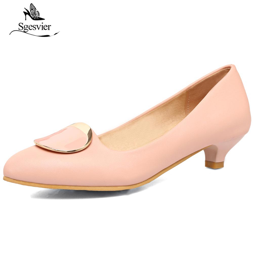 SGESVIER New Office Lady Shoes Women Pointed Toe Pumps Low Heels Shallow Shoes Black Beige Pink Dress Elegant Shoes Spring OX238 nemaone 2017 new elegant women pumps poined toe low heels women shoes office lady dress shoes zapatos mujer large size 34 43