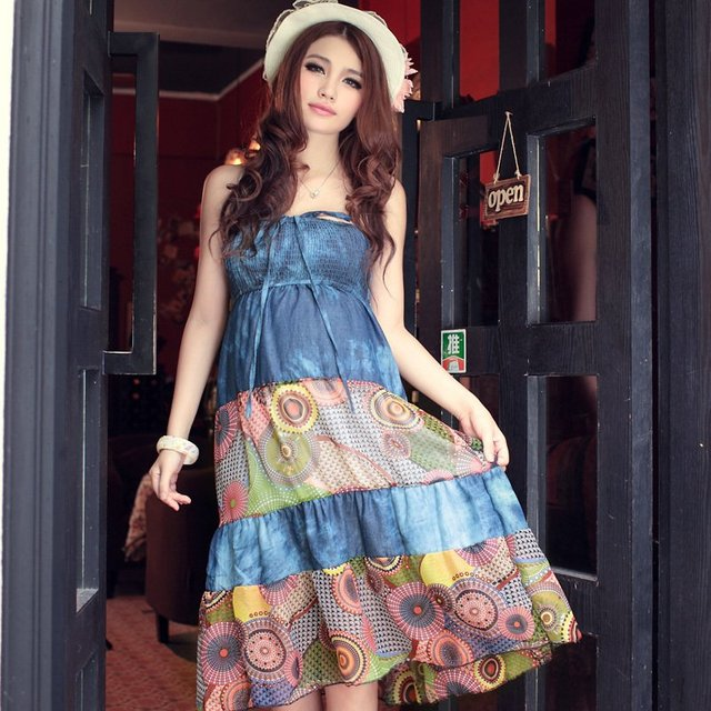 New Fashion Summer maternity clothing Bohemia tube top dress maternity  dress clothes for pregnant women one piece