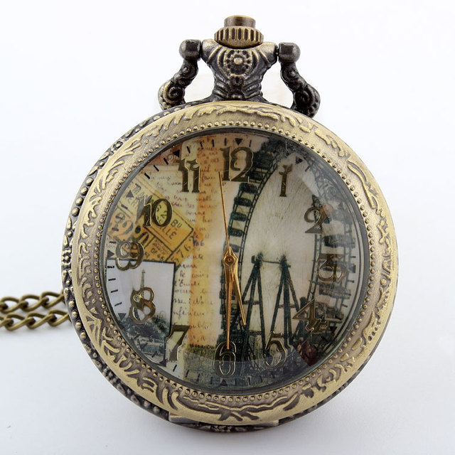 Hot sale Unique Vintage Bronze Ferris Wheel Quartz Pocket Watch Necklace Pendant