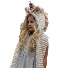Las niñas de invierno sombrero y bufanda conjunto de punto de sombrero  Animal bufanda con capucha c0d166a0a63