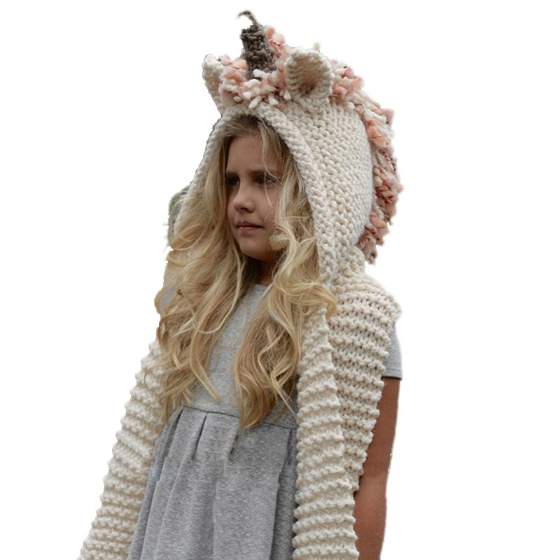 Winter Girls Hat And Scarf Set Knitted Unicorn Hat Hooded