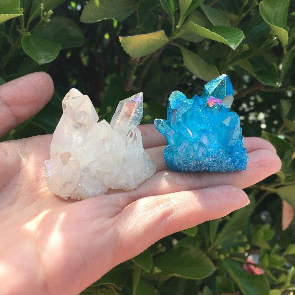 2 pçs aura anjo cristal cluster azul e branco natural revestimento de titânio pedra preciosa quartzo cluster cura decoração para casa 65g