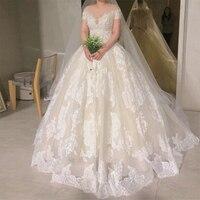 Бальное платье принцессы; свадебное платье с открытыми плечами; пышная юбка; платье с короткими рукавами; Vestido De Novia; платье с аппликацией De