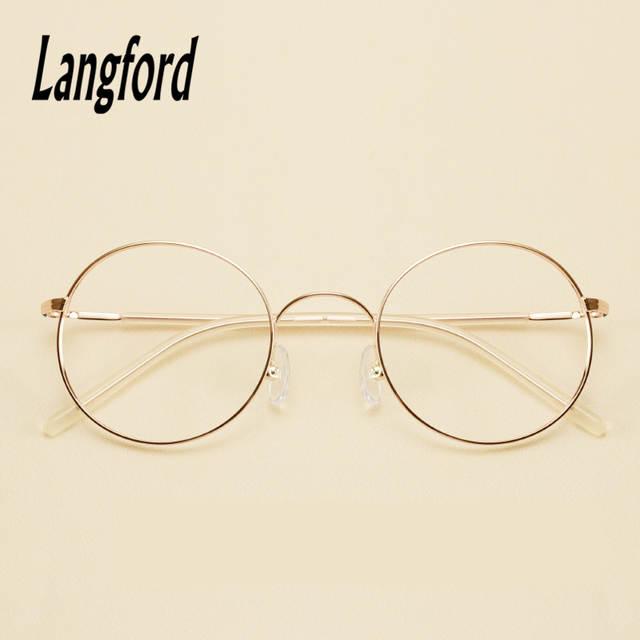 d608dcf3c713f Online Shop thin round glasses frames for women vintage round Transparent eyeglass  spectacle big glasses gold pink 1535