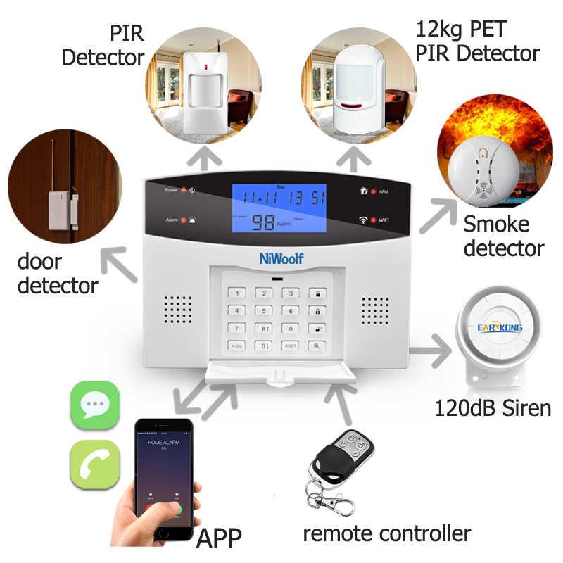 Wifi GSM ev hırsız alarmı sistemi kablosuz ve kablolu dedektörü röle çıkışı akıllı kontrol APP kapı sensörü yangın duman motion Alarm